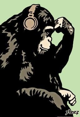 Steez Monkey Thinker - Green Art Poster Print