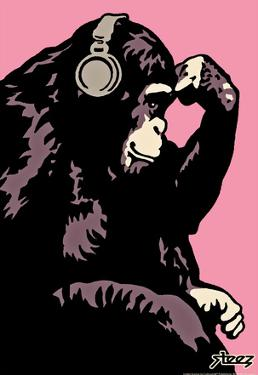 Steez Monkey Thinker - Pink Art Poster Print