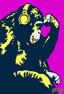 Steez Monkey Thinker - Purple Art Poster Print