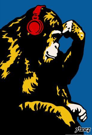 Steez Monkey Thinker - Red Headphones Art Poster Print