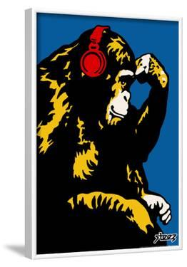 Steez Monkey Thinker - Red Headphones Art Poster Print