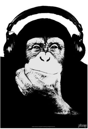 Steez Headphone Chimp - Black & White by Steez
