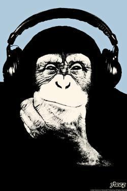 Steez Headphone Chimp - Blue Plastic Sign by Steez