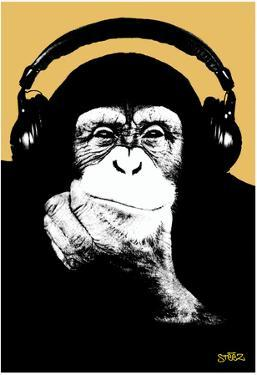 Steez Headphone Chimp - Gold Art Poster Print by Steez