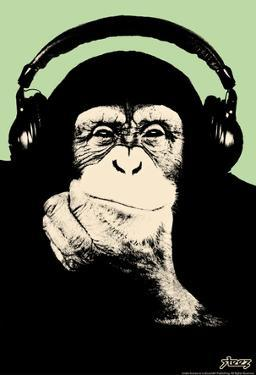 Steez Headphone Chimp - Green Art Poster Print by Steez