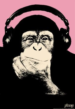 Steez Headphone Chimp - Pink Art Poster Print by Steez