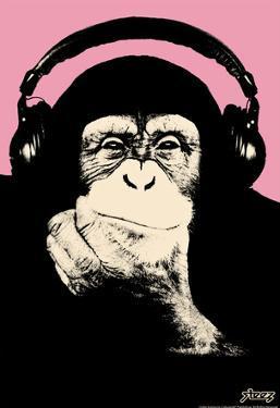 Steez Headphone Chimp - Pink Art Poster Print by Steez
