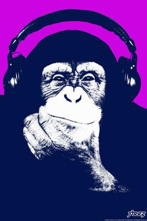 Steez Headphone Chimp - Purple Art Poster Print by Steez