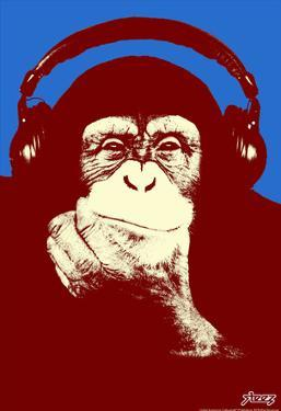 Steez Headphone Chimp - Red Art Poster Print by Steez