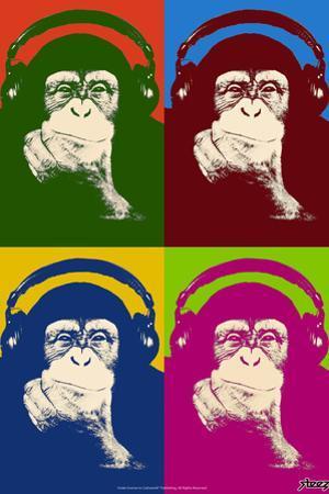 Steez Monkey Headphones Quad Pop-Art Plastic Sign by Steez