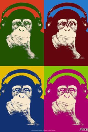 Steez Monkey Headphones Quad Pop-Art Poster by Steez