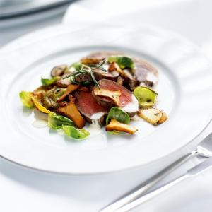 Venison Fillet with Sprout Leaves and Chanterelle Mushrooms by Stefan Braun
