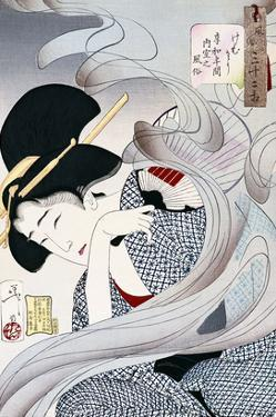 19th Century Japanese Print of a Woman with a Fan by Stefano Bianchetti