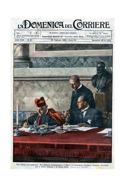 Illustration of Benito Mussolini and Cardinal Pietro Gasparri Signing the Lateran Treaty of 1929 by Stefano Bianchetti