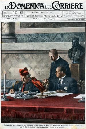 Illustration of Benito Mussolini and Cardinal Pietro Gasparri Signing the Lateran Treaty of 1929
