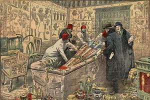 Illustration of Howard Carter and Lord Carnarvon in the Tomb of Tutankhamun by Stefano Bianchetti