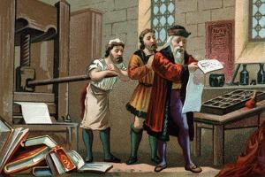 Illustration of Johannes Gutenberg Printing the First Sheet of the Bible by Stefano Bianchetti