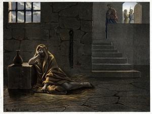 Saint John the Baptist in Prison 19Th-Century Print by Stefano Bianchetti