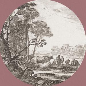Paysage avec un Chapiteau Corinthien by Stefano della Bella