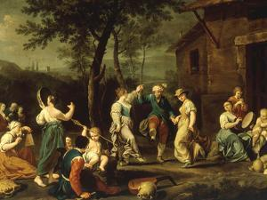 Peasants Dancing and Making Music in a Landscape by Stefano Ghirardini