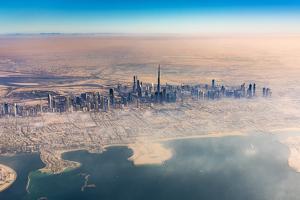 Aerial view of downtown skyline with Burj Khalifa skyscraper, Dubai, United Arab Emirates by Stefano Politi Markovina