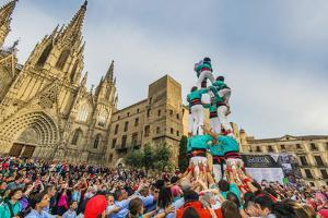 Castellers or Human Tower Exhibiting in Front of the Cathedral, Barcelona, Catalonia, Spain by Stefano Politi Markovina