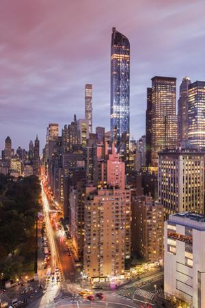 City Skyline at Sunset with Autumn Colors at Central Park, Manhattan, New York, USA by Stefano Politi Markovina