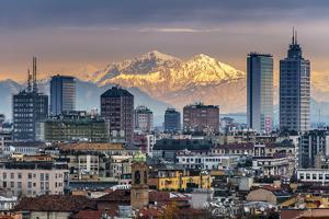 City Skyline at Sunset with the Snowy Alps in the Background, Milan, Lombardy, Italy by Stefano Politi Markovina