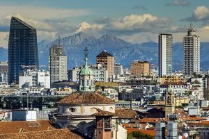 City Skyline with the Alps in the Background, Milan, Lombardy, Italy by Stefano Politi Markovina