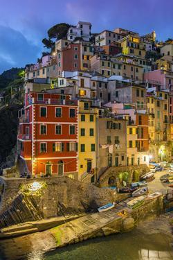 Dusk View of the Colorful Sea Village of Riomaggiore, Cinque Terre, Liguria, Italy by Stefano Politi Markovina