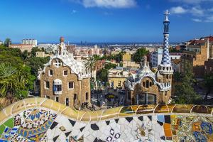 Entrance of Park Güell with City Skyline Behind, Barcelona, Catalonia, Spain by Stefano Politi Markovina