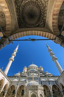 Inner Courtyard Low Angle View of Yeni Cami or New Mosque, Istanbul, Turkey by Stefano Politi Markovina