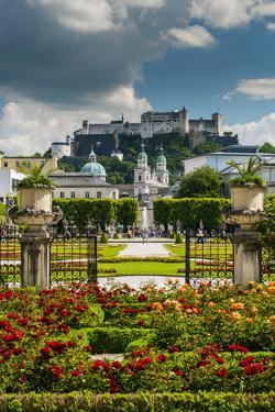 Mirabell gardens with Cathedral and Hohensalzburg castle in the background, Salzburg, Austria by Stefano Politi Markovina