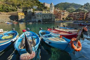 Moored Fishing Boats in the Small Port of Vernazza, Cinque Terre, Liguria, Italy by Stefano Politi Markovina