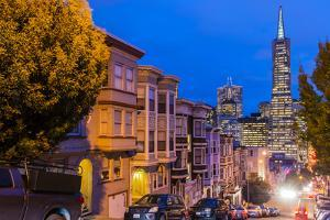 Night View of Downtown Skyline from North Beach District, San Francisco, California, Usa by Stefano Politi Markovina