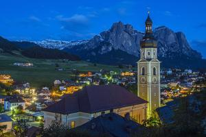 Night View over the Mountain Village of Castelrotto Kastelruth, Alto Adige or South Tyrol, Italy by Stefano Politi Markovina