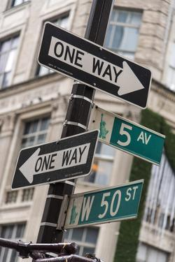 One Way and Fifth Avenue Signs, Manhattan, New York, USA by Stefano Politi Markovina