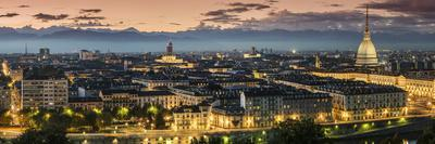 Panoramic View at Dusk, Turin, Piedmont, Italy