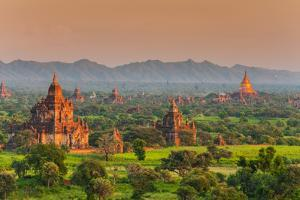 Panoramic View at Sunset over the Ancient Temples and Pagodas, Bagan, Myanmar or Burma by Stefano Politi Markovina