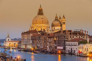 Santa Maria Della Salute Church and Grand Canal at Sunset, Venice, Veneto, Italy by Stefano Politi Markovina