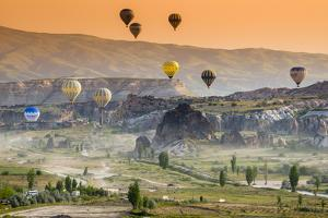 Sunrise Landscape with Hot Air Balloons, Goreme, Cappadocia, Turkey by Stefano Politi Markovina