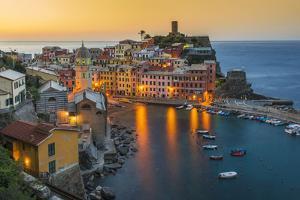 Top View at Sunrise of the Picturesque Sea Village of Vernazza, Cinque Terre, Liguria, Italy by Stefano Politi Markovina
