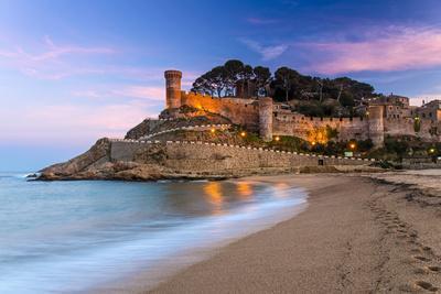 View at Dusk of Vila Vella, the Medieval Old Town of Tossa Del Mar, Costa Brava, Catalonia, Spain