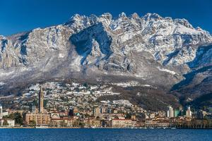 Winter View of City of Lecco with Mount Resegone in the Background, Lake Como, Lombardy, Italy by Stefano Politi Markovina
