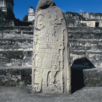 Stele Number 9 Depicting K'An Chitan, Tikal