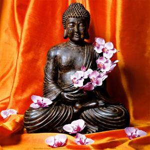 Buddha with Flowers by Stephane De Bourgies