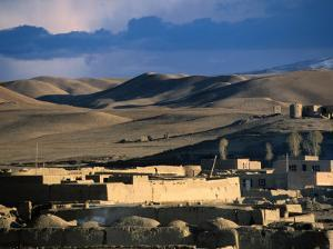 Hills, Mountain and Town by Hari Rud River, Chaghcharan, Afghanistan by Stephane Victor