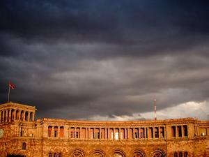 Storm Clouds Over Ministry of Finance and Economy Building, Yerevan, Armenia by Stephane Victor