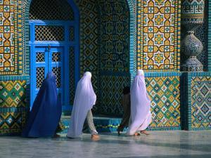 Worshippers Visiting Shrine of Hazrat Ali (Blue Mosque), Mazar-E Sharif, Afghanistan by Stephane Victor