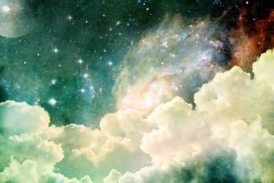 A Photo Based Cloudscape with Clouds, Stars and Moon with Distant Galaxies. by Stephanie Frey